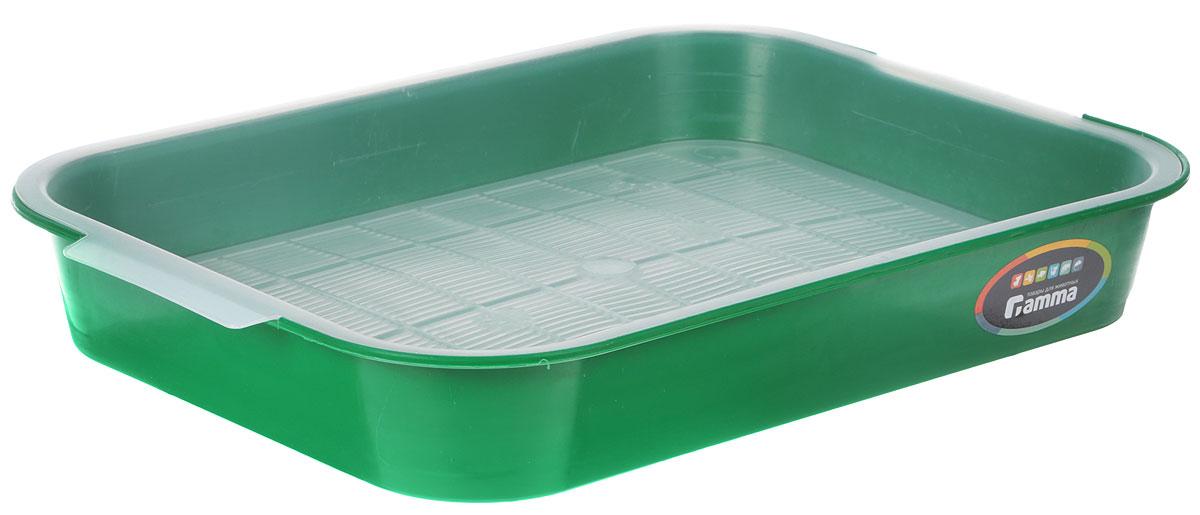"""Туалет для кошек """"Гамма"""", с сеткой, цвет: зеленый, 40 х 28 х 6 см"""