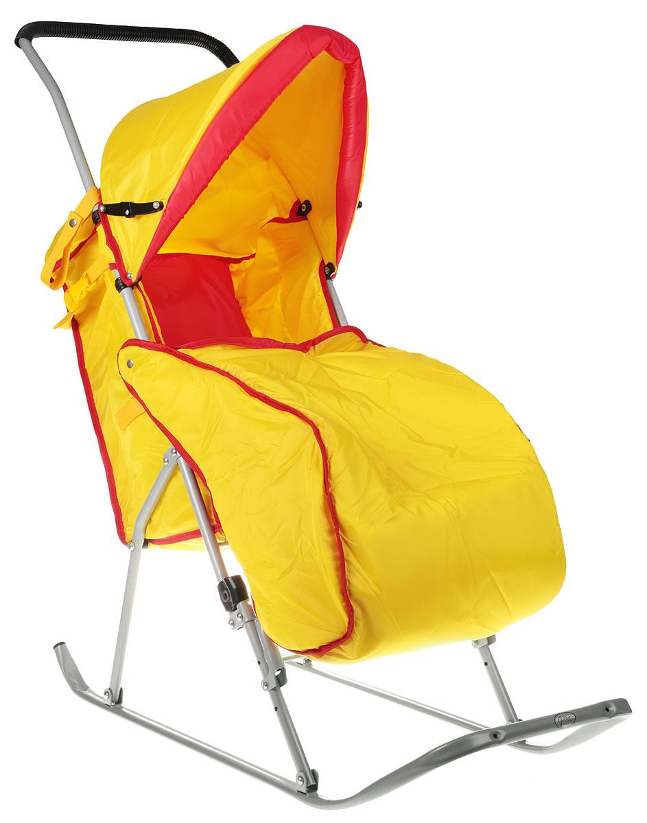 Фея Санки-коляска Метелица Люкс с тентом цвет желтый красный0005573-01_желтый, красныйСанки-коляска Фея Метелица Люкс  предназначены для перевозки детей в положении сидя в возрасте от года до 3 лет.Широкие полозья обеспечивают легкое скольжение по снегу. Санки оснащены ремнем безопасности для фиксации малыша. Модель имеет тент, который складывается, подставку для ног и утепленный чехол для ног. Санки изготовлены с двумя задними маленькими колесиками, что очень удобно при перевозке через дорогу, где нет снега.