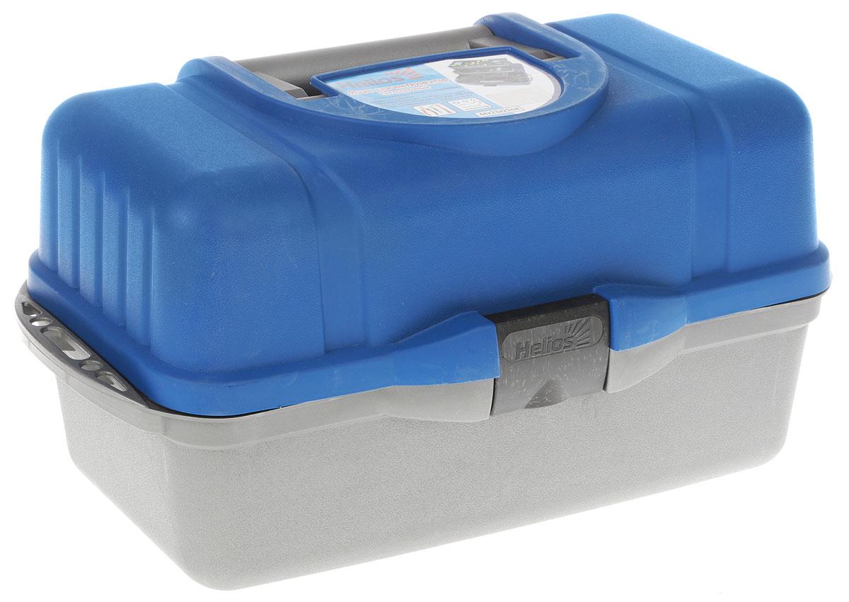 Ящик рыболовный Helios, трехполочный, цвет: синий, 43 х 22 х 24 см ящик рыболовный salmo трехполочный цвет зеленый