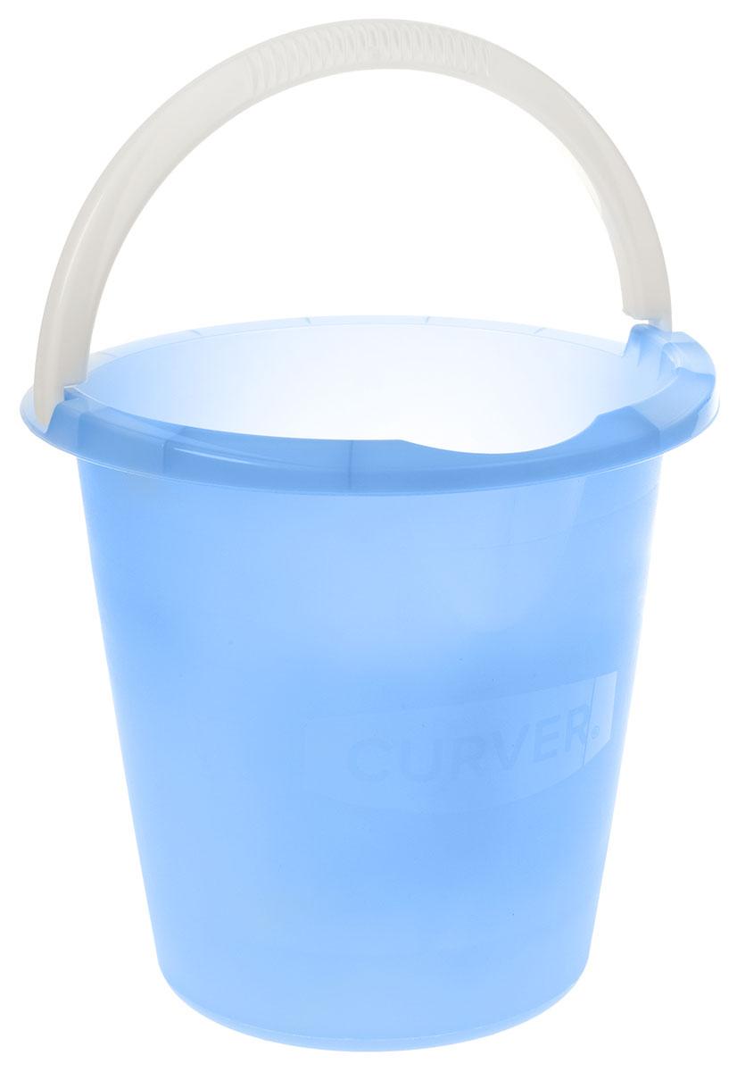 Ведро Curver, цвет: голубой, 10 л8055_оранжевыйВедро Curver выполнено из прочного пластика. Изделие снабжено небольшим носиком и удобной рельефной ручкой. На внутреннюю поверхность нанесены отметки литража. Такое ведро пригодится в любом хозяйстве, оно отлично подойдет для мытья полов или хранения мусора.