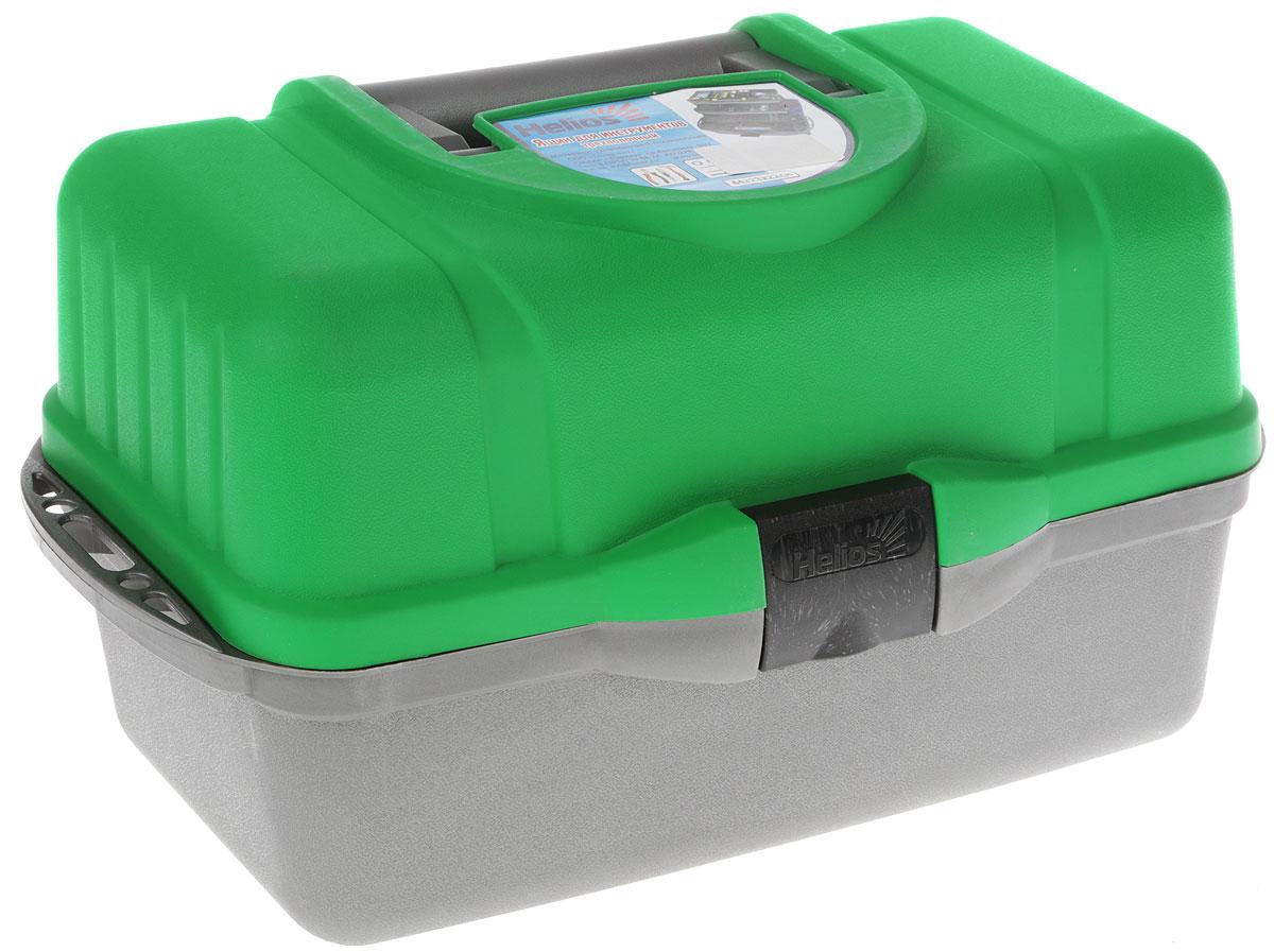 Ящик рыболовный Helios, трехполочный, цвет: зеленый, серый, 43 х 22 х 24 см109238Удобный и вместительный ящик Helios с тремя выдвижными полками выполнен из ударопрочного полипропилена и предназначен для хранения различной рыболовной оснастки: поплавков, приманок, крючков и другой полезной мелочи. На дно ящика можно положить 1-3 спиннинговых катушек.