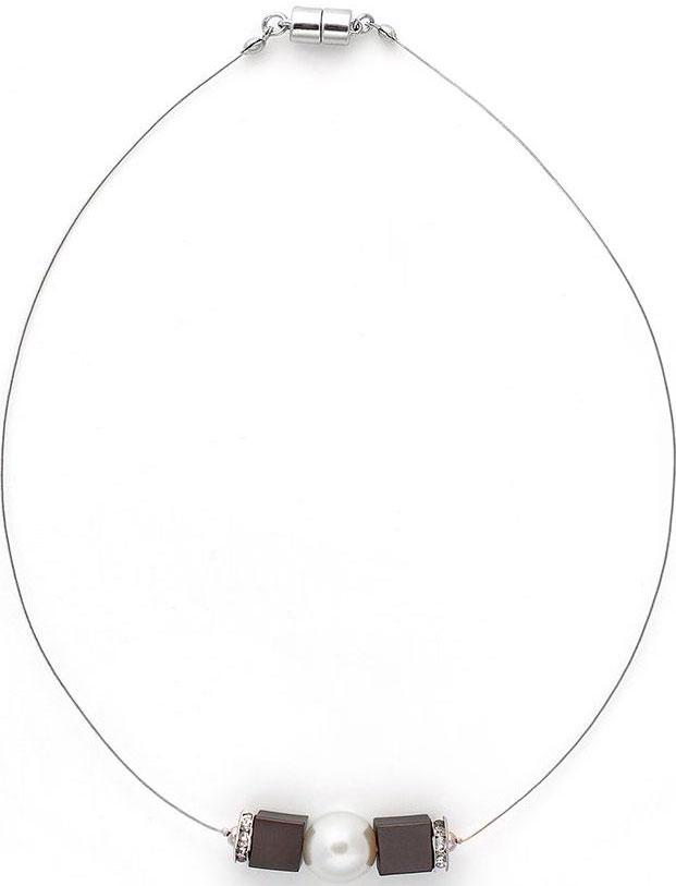 Колье женское Selena, цвет: белый, серебристый. 10108931 SelenaСелена