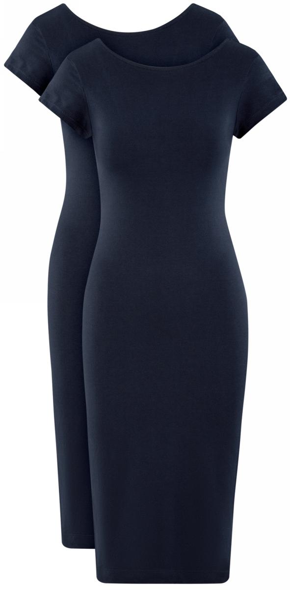 Платье oodji Collection, цвет: темно-синий, 2 шт. 24001104T2/47420/7900N. Размер XL (50)24001104T2/47420/7900NСтильное платье-миди от oodji выполнено из эластичного хлопкового трикотажа. Модель приталенного силуэта с короткими рукавами и круглым вырезом горловины.В комплекте 2 платья.