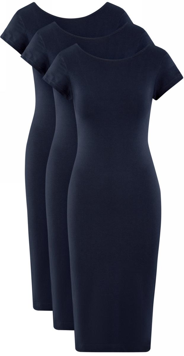 Платье oodji Collection, цвет: темно-синий, 3 шт. 24001104T3/47420/7900N. Размер S (44) платье трикотажное с ажурным вырезом