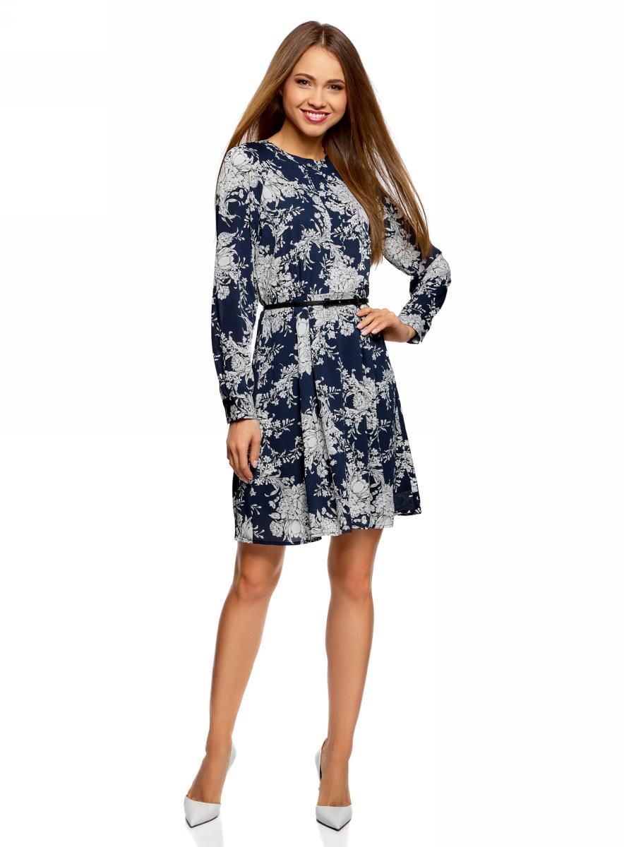 Платье oodji Collection, цвет: темно-синий, белый. 21912001-1/45626/7912F. Размер 38 (44-170) платье oodji collection цвет черный белый 24001104 1 35477 1079s размер l 48