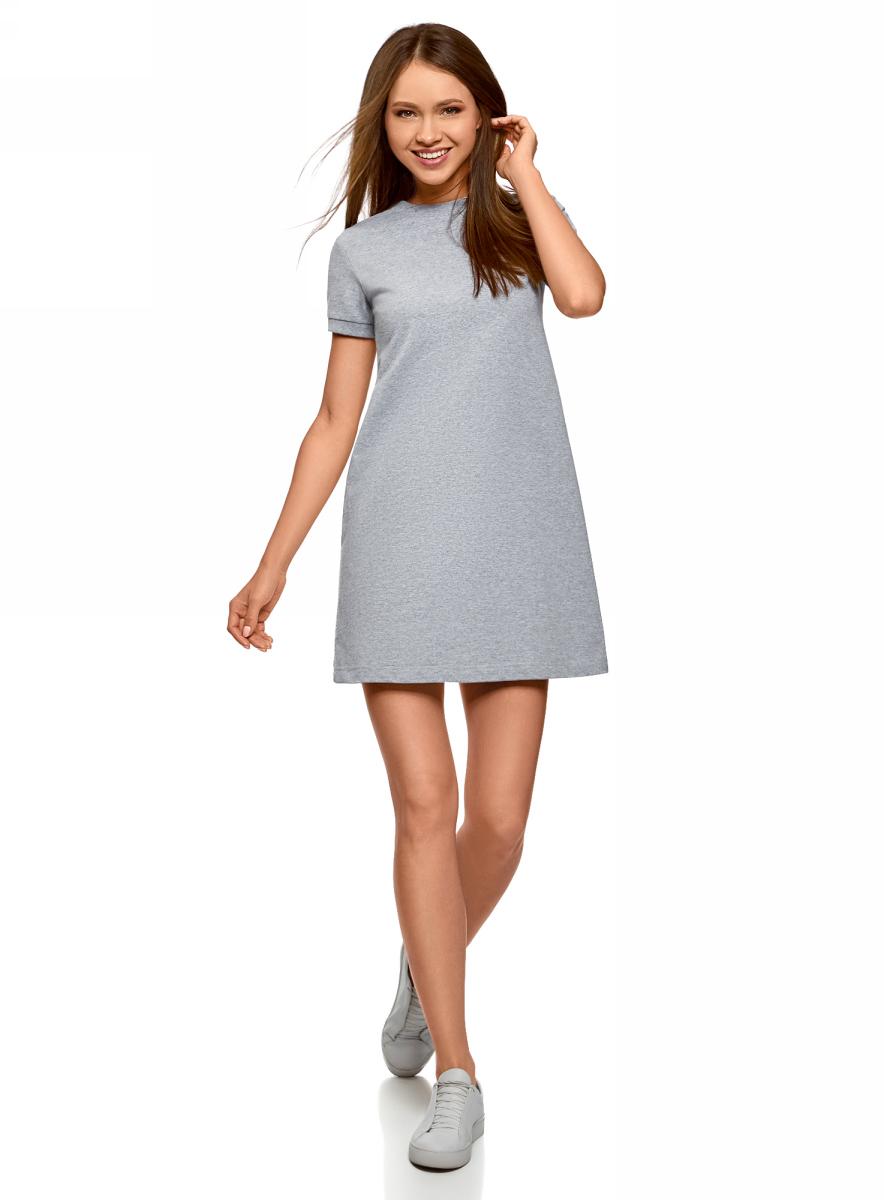 Платье oodji Ultra, цвет: светло-серый меланж. 14000162B/47481/2000M. Размер XXS (40)14000162B/47481/2000MТрикотажное платье от oodji выполнено из натурального хлопка. Модель с круглым вырезом горловины и короткими рукавами.
