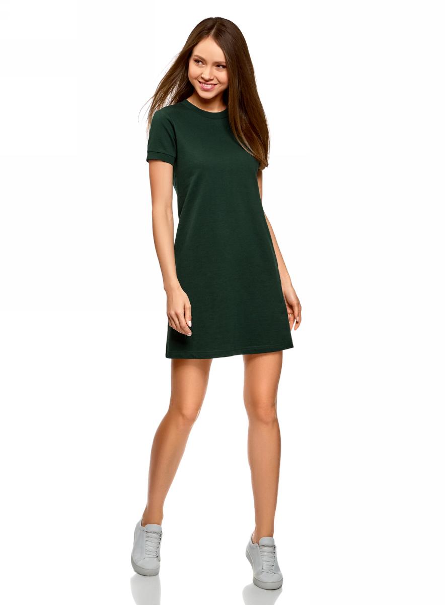 Платье oodji Ultra, цвет: темно-зеленый. 14000162B/47481/6900N. Размер XS (42)14000162B/47481/6900NТрикотажное платье от oodji выполнено из натурального хлопка. Модель с круглым вырезом горловины и короткими рукавами.