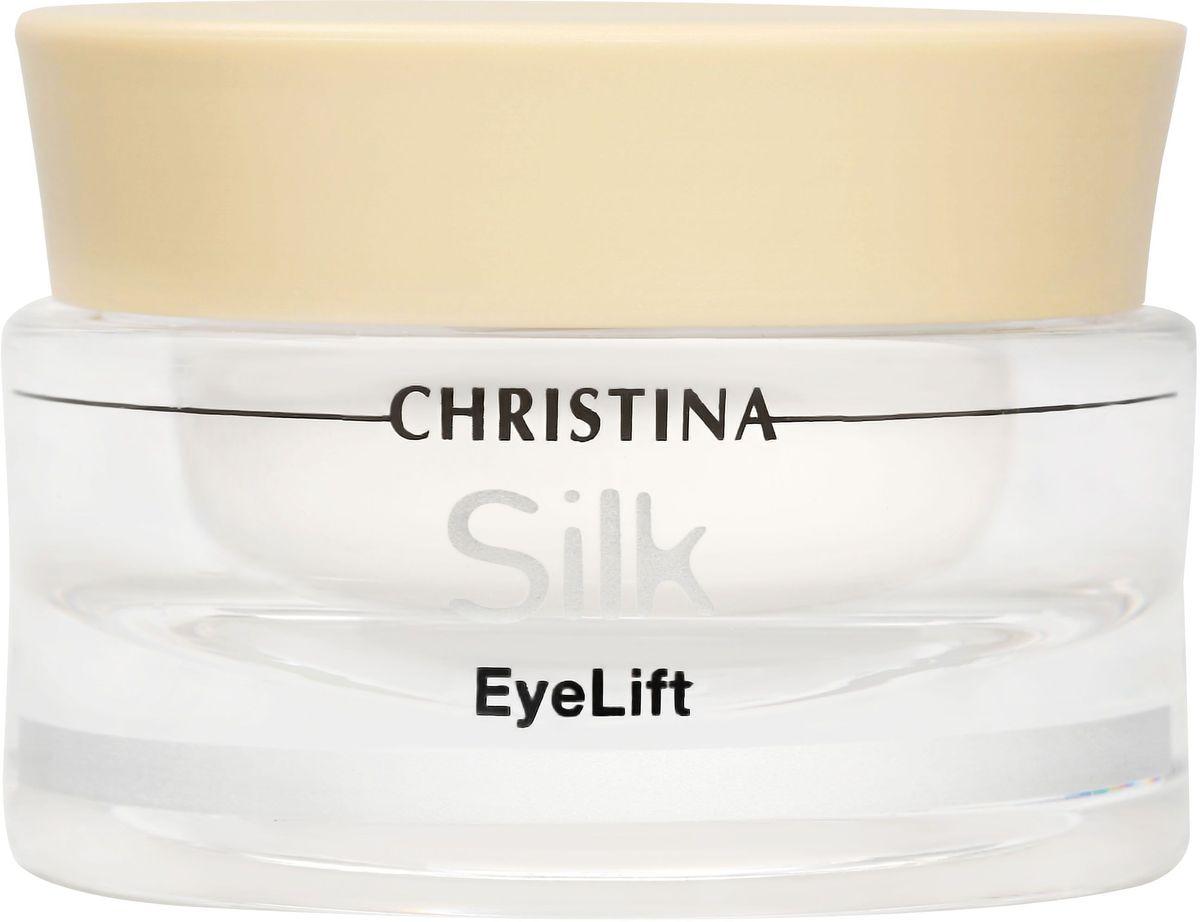Christina Silk Eyelift Cream - Крем для подтяжки кожи вокруг глаз 30 млSILKELКрем для подтяжки кожи вокруг глаз Christina Silk Eyelift Cream. Препарат оказывает немедленный лифтинг-эффект на кожу области глаз.В его основе – инновационное сочетание подтягивающих кожу компонентов и глубоко проникающих био-пептидов. Крем EyeLift уменьшает морщинки, темные круги под глазами и припухлости, подтягивает деликатную кожу вокруг глаз, придает ей мягкость и шелковистость.Ваш взгляд сияет!Возрастные ограничения: 25+, 30+ Объём: 30 мл