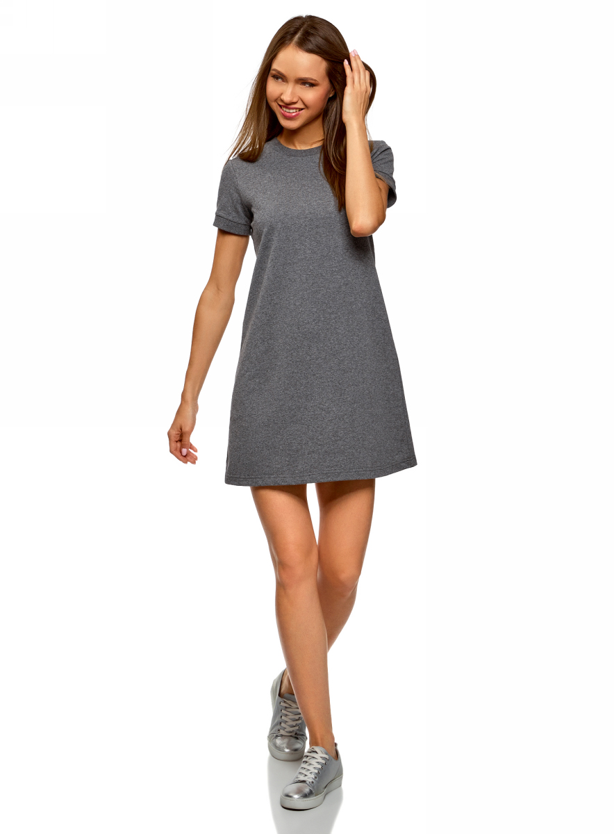 Платье oodji Ultra, цвет: темно-серый меланж. 14000162B/47481/2500M. Размер S (44) аксессуар velas hdmi hdmi vhdmi g4 0