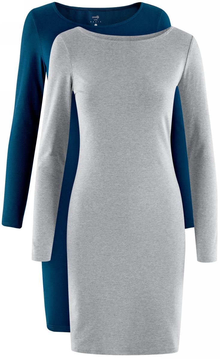 Платье oodji Ultra, цвет: темно-синий, серый, 2 шт. 14001183T2/46148/19M9N. Размер M (46)14001183T2/46148/19M9NСтильное платье от oodji выполнено из эластичного хлопкового трикотажа. Модель облегающего силуэта с длинными рукавами и круглым вырезом горловины.В комплекте два платья.