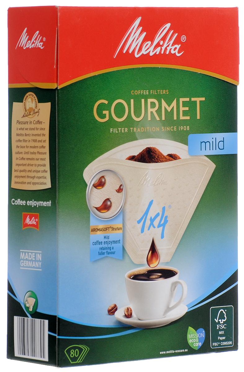 Melitta Gourmet Mild фильтры для заваривания кофе, 1х4/80 шт.0100971Бумажные кофейные фильтры Melitta Gourmet Mild. Позвольте околдовать себя: насладитесь мягким вкусом кофе иего полным разнообразием ароматов благодаря улучшенным кофейным фильтрам Gourmet Mild. Крупнопористаяструктура бумаги Aromasoft обеспечивает быстрое взаимодействие воды с молотым кофе, что гарантирует мягкийи приятный вкус. Кроме того, инновационные аромапоры Aromapor PLUS способствуют оптимальной экстракциикофейных масел, которые являются носителями более чем 800 ароматов кофе и позволяют наслаждаться мягкимсоблазняющим кофе.Размер: 1x4 Надежный двойной шов повышенной прочности Высокий уровень прочности на разрыв и эффективности фильтрации
