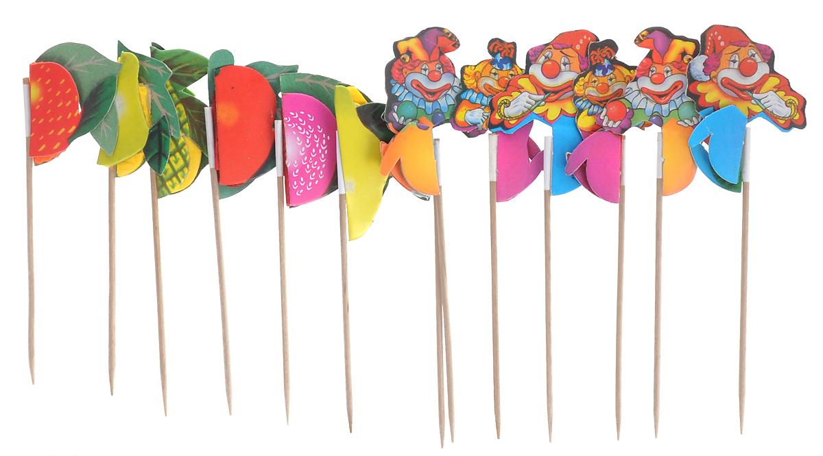 """Декоративные пики Paterra """"Ассорти"""" помогут вам создать оригинальные канапе и бутерброды из самых простых продуктов, сделают десерт аппетитнее, а напиток вкуснее. Набор состоит из 12 деревянных шпажек, декорированных различными бумажными фруктами и фигурками клоунов. Представьте, насколько ярким и красивым станет ваш праздничный стол, и как будут приятно удивлены гости мастерством хозяйки. Украшая такими пиками детские блюда, вам легко и быстро удастся превратить полезные блюда в """"супервкусные"""". Станьте оригинальной хозяйкой с пиками Paterra! Характеристики:   Материал: дерево, бумага.  Длина пики: 10 см.  Комплектация: 12 шт. Артикул: 401-164."""