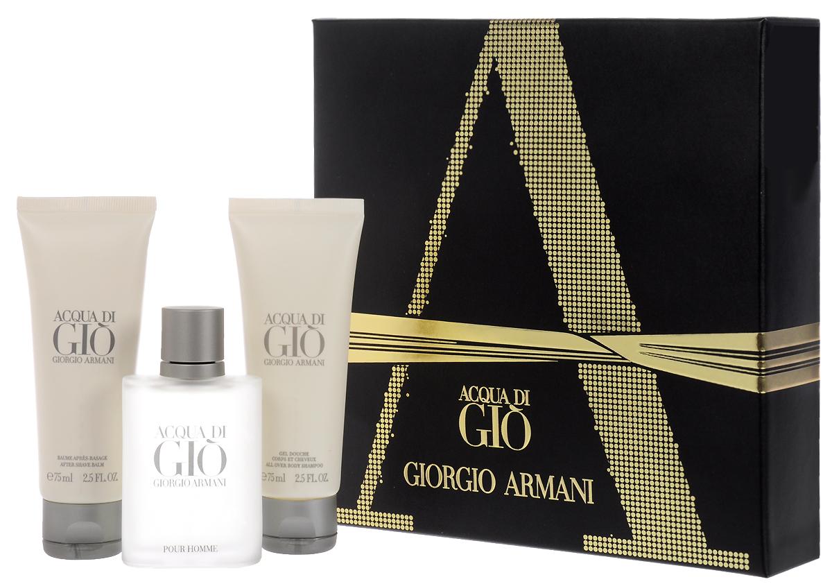 Giorgio Armani Парфюмерный набор мужской Acqua Di Gio, 3 предмета giorgio armani giorgio armani acqua di gio profumo парфюмерная вода спрей 75 мл
