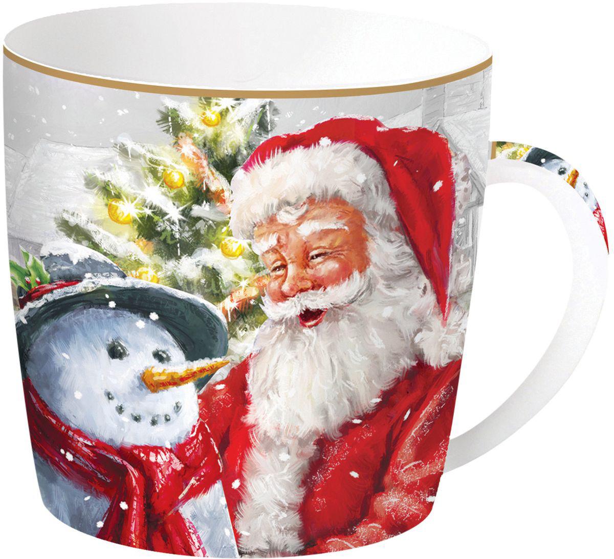 Кружка Easy Life Дед Мороз и снеговик, цвет: красный, 350 мл кружка кофе 350 мл nuova r2s s p a кружка кофе 350 мл