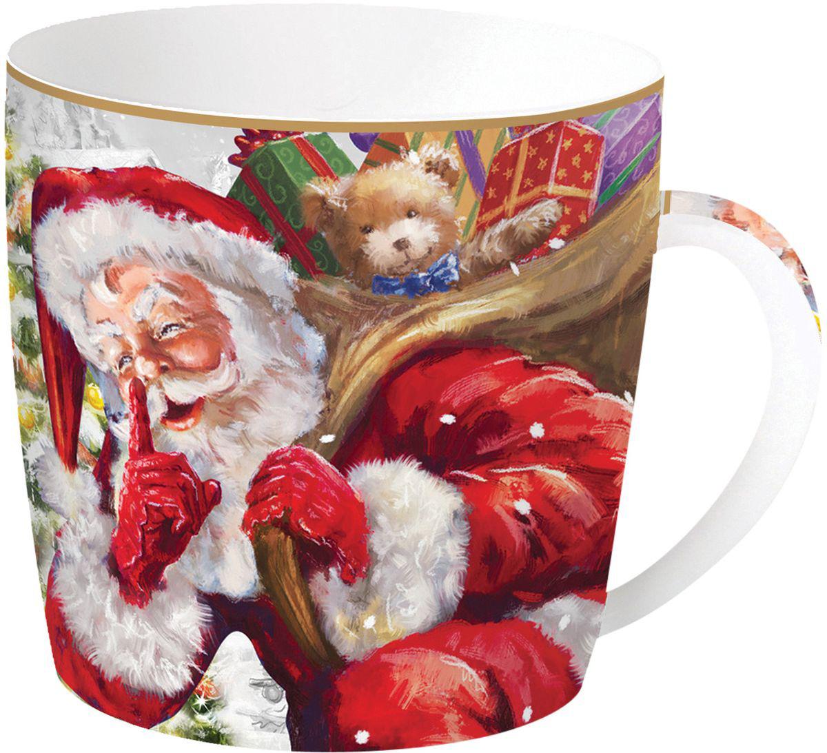 Кружка Easy Life Дед Мороз с мишкой, цвет: красный, 350 мл кружка nuova r2s милый друг 350 мл