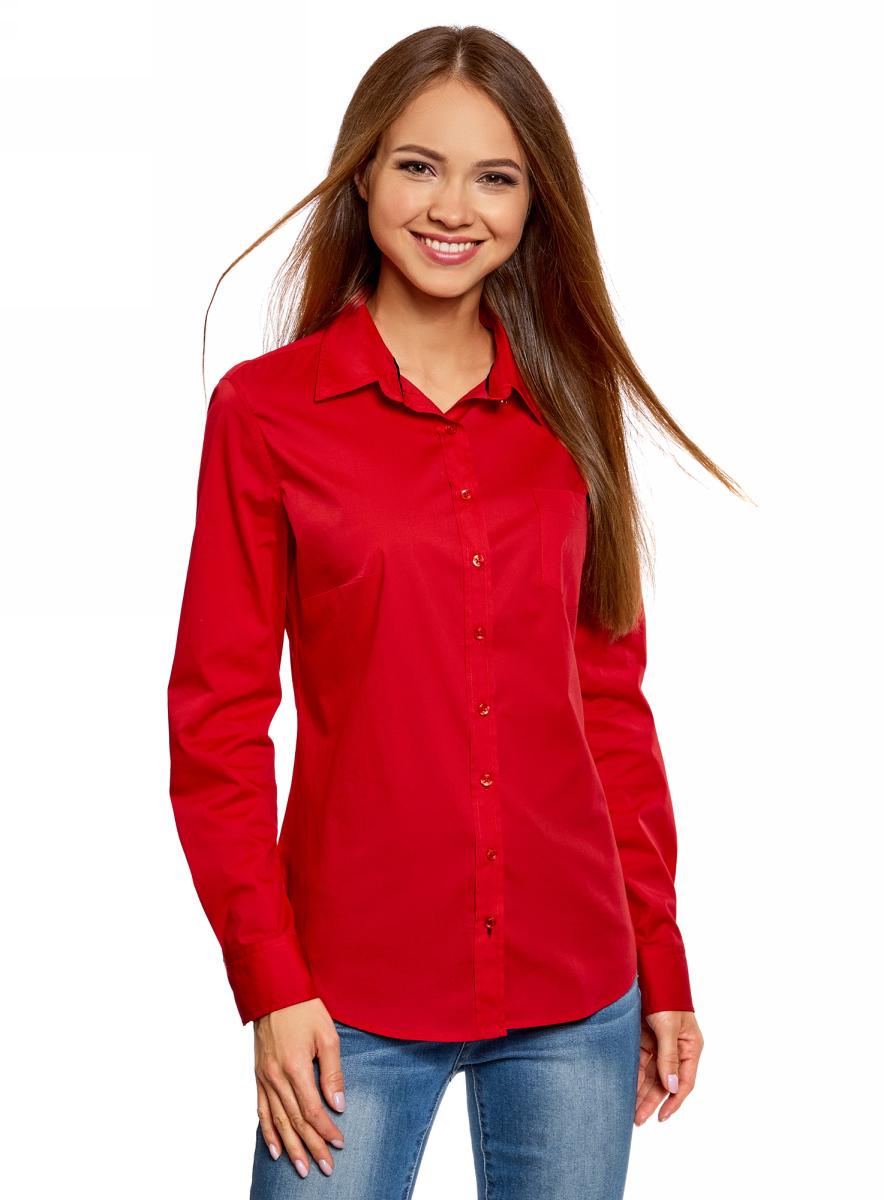 Рубашка женская oodji Ultra, цвет: красный, темно-синий . 11403205-9/26357/4579B. Размер 40 (46-170)11403205-9/26357/4579BЖенская рубашка oodji Ultra выполнена из хлопка с добавлением полиуретана. Модель с отложным воротником и длинными рукавами застегивается по всей длине с помощью пуговиц. На лицевой стороне расположен накладной карман. Рукава, дополненные манжетами с пуговицами, подворачиваются и фиксируются с помощью пуговицы.