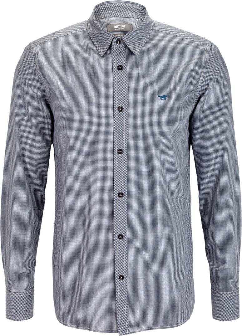 Рубашка муж Mustang 1/1Slv_0/P_K, цвет: темно-синий, серый. 4602-4977-534_10752. Размер XL (52)4602-4977-534_10752