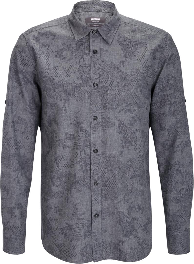 Рубашка мужская Mustang 1/1TU-Slv_0/P_K, цвет: серый. 4602-4979-160_10763. Размер S (46)4602-4979-160_10763Мужская рубашка MUSTANG с длинными рукавами изготовлена из натурального хлопка. Рубашка застегивается на пуговицы. Манжеты рукавов дополнены застежками-пуговицами. Рукава можно подгибать с помощью хлястиков.
