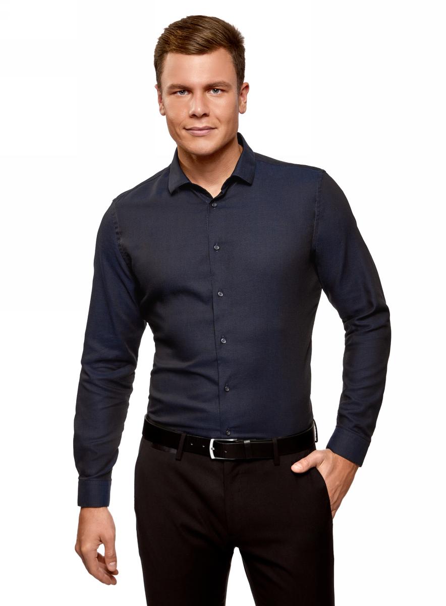 Рубашка мужская oodji Lab, цвет: темно-синий. 3L110281M/47382N/7929O. Размер 39 (46-182)3L110281M/47382N/7929OМужская рубашка от oodji выполнена из хлопкового материала. Модель приталенного кроя с длинными рукавами и отложным воротником застегивается на пуговицы.