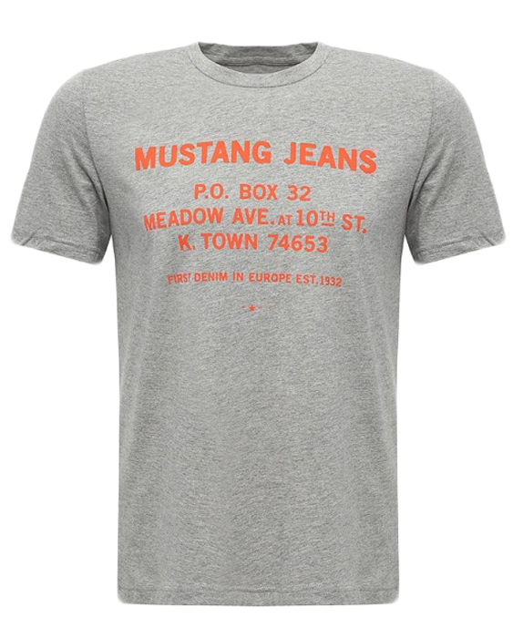 Футболка мужская Mustang Meadow Ave Tee, цвет: серый. 7040-1603-160_4140. Размер M (48) футболка мужская mustang building tee цвет серо бежевый 7022 1603 674 6290 размер xl 52