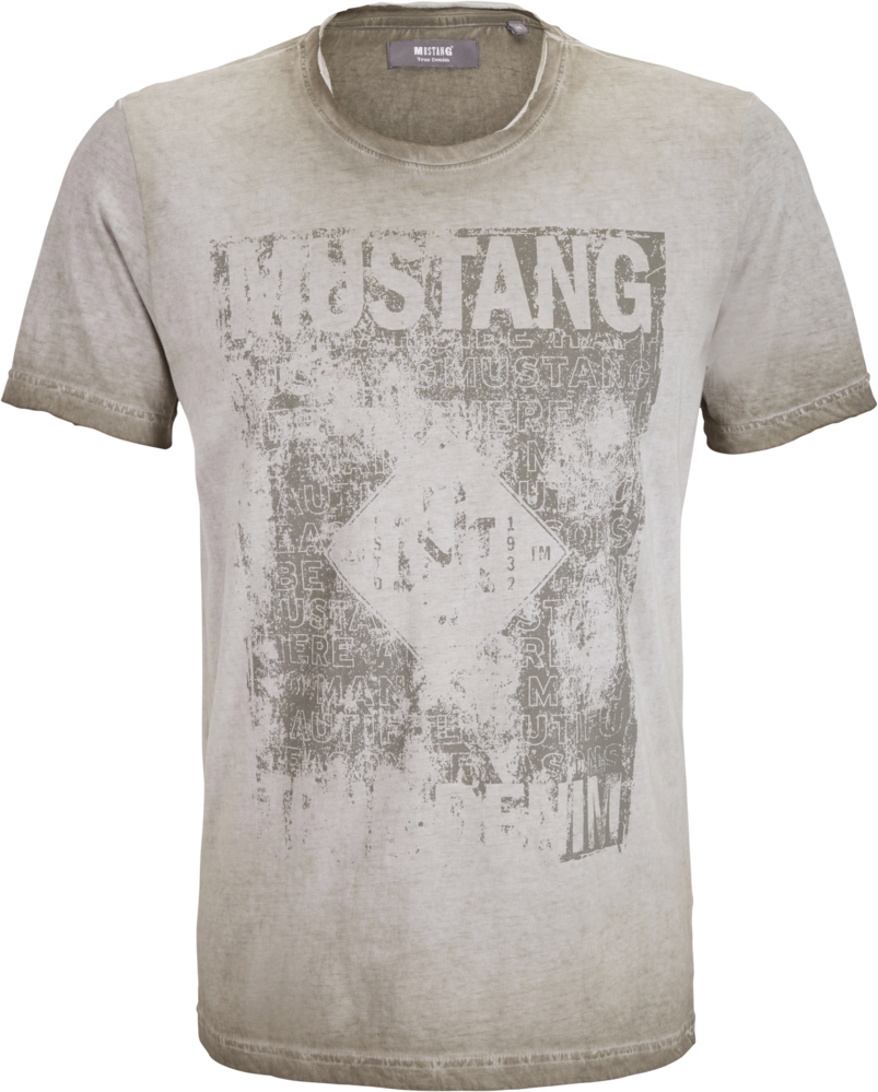 Футболка мужская Mustang Inside Out Tee, цвет: серый. 7062-1728-155_6463. Размер M (48) футболка мужская mustang basic tee цвет черный 6138 1603 440 4142 размер m 48