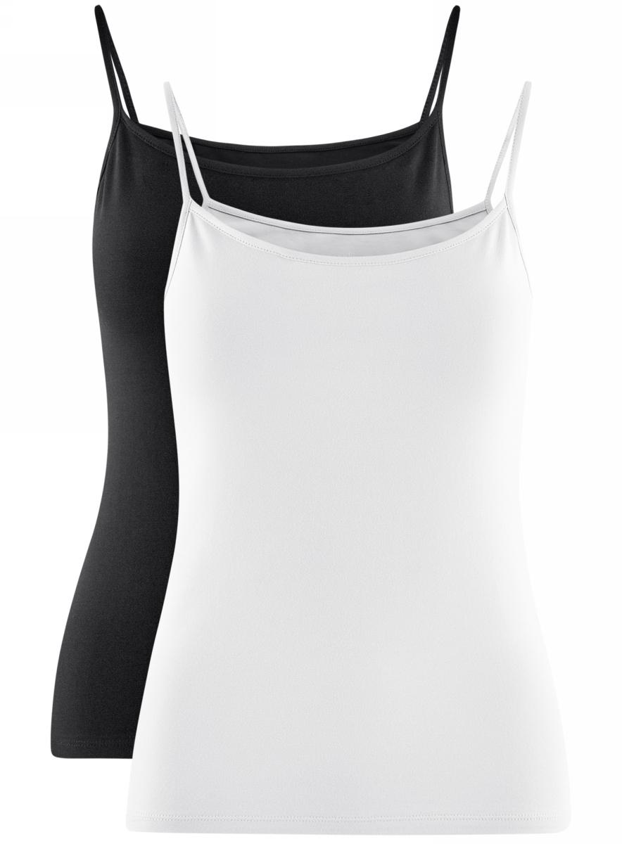 Топ женский oodji Ultra, цвет: белый, черный, 2 шт. 14305023T2/46147/19J0N. Размер S (44)14305023T2/46147/19J0NЖенский топ oodji изготовлен из высококачественного материала. Модель выполнена с тонкими бретельками. В комплекте 2 топа.