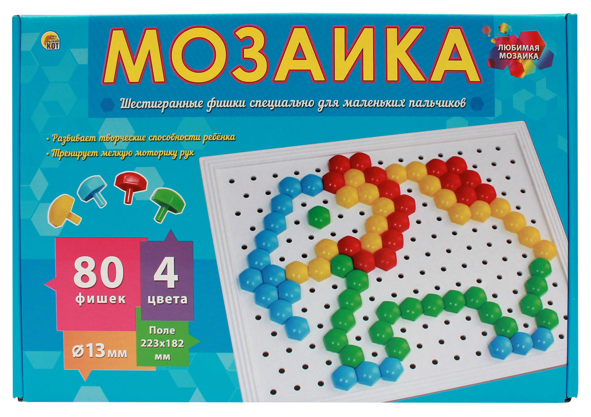 Рыжий Кот Мозаика 80 фишек М-0282 рыжий кот мозаика напольная 24 элемента