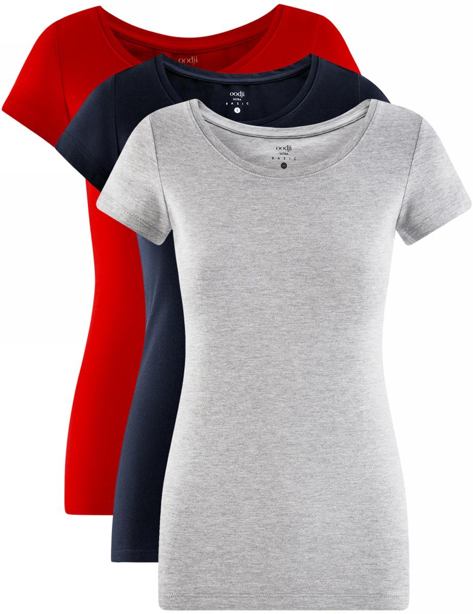 Футболка женская oodji Ultra, цвет: красный, темно-синий, серый, 3 шт. 14701005T3/46147/19ARN. Размер M (46)14701005T3/46147/19ARNЖенская футболка oodji Ultra выполнена из эластичного хлопка. Модель с круглым вырезом горловины и короткими рукавами. В комплект входят три футболки.