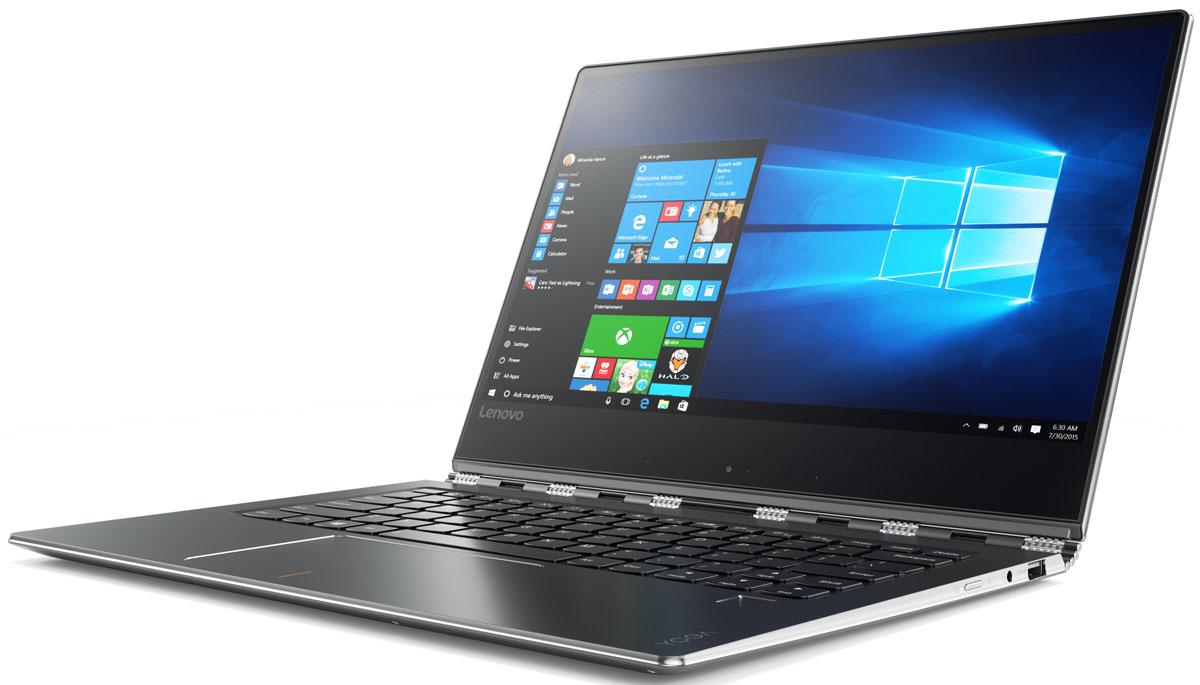 Lenovo Yoga 910, Gun Metal (80VF004MRK)80VF004MRKЭлегантный и производительный ноутбук Yoga 910 - это стильное устройство для работы и развлечений. Цельнометаллический корпус и ультратонкие рамки притягивают взгляды, в то время как высокая производительность, дисплей с высоким разрешением и объемный звук позволят разбудить твою фантазию. Больше, чем просто ноутбук, - Yoga 910 подстраивается под твой образ жизни. Привлекает внимание, где бы ты ни находился.Сенсорный дисплей Yoga 910 с высоким разрешением и тонкими рамками обеспечивает невероятную четкость изображения. Широкие углы обзора и матрица IPS позволят отобразить мельчайшие детали любых документов, фото, видео, игр и веб-страниц, независимо от угла просмотра.Тщательно обработанная поворотная конструкция по типу часового браслета не только впечатляюще выглядит, но и практична в работе. Мастерски отрегулированная, она позволяет плавно открыть ноутбук. Конструкция к тому же достаточно устойчивая, чтобы удерживать сенсорный экран в удобном положении для просмотра. Независимо от способа использования - в качестве планшета или ноутбука - Yoga 910 отлично выглядит и удобен в работе.При толщине всего 14,3 мм и весе от 1,38 кг Yoga 910 можно взять с собой куда угодно. Работай и развлекайся - сутки напролет.С аккумулятором, позволяющим работать целый день в автономном режиме, ничто не остановит этот ноутбук с функцией поворота экрана на 360 градусов - или любые другие интеллектуальные устройства. Порт USB с функцией непрерывной зарядки позволит зарядить твой смартфон и другие устройства, даже когда питание Yoga 910 отключено.Приложи палец к сканеру отпечатков Yoga 910 для быстрого и безопасного входа в систему - это гораздо быстрее, чем вводить пароль. И продолжай заниматься своими делами. Высокоскоростные процессоры Intel последнего поколения обеспечат максимальный уровень производительности на весь день. Сканер отпечатков пальцев упрощает работу: от мгновенной регистрации без ввода пароля до покупок в интернет-магази