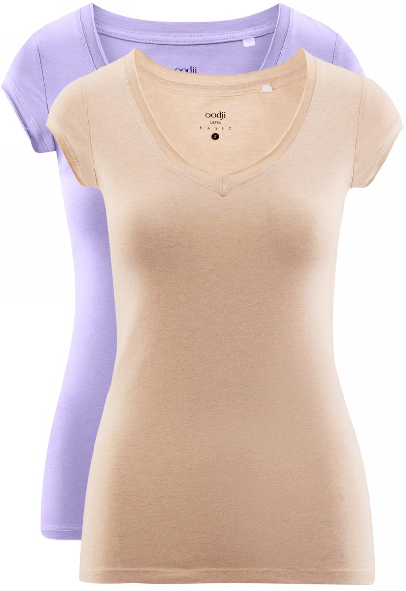 Футболка женская oodji Ultra, цвет: сиреневый, бежевый, 2 шт. 14711002T2/46157/19RAN. Размер XS (42)14711002T2/46157/19RANБазовая футболка от oodji выполнена из эластичного хлопкового трикотажа. Модель с короткими рукавами и глубоким декольте. В комплект входят две футболки.