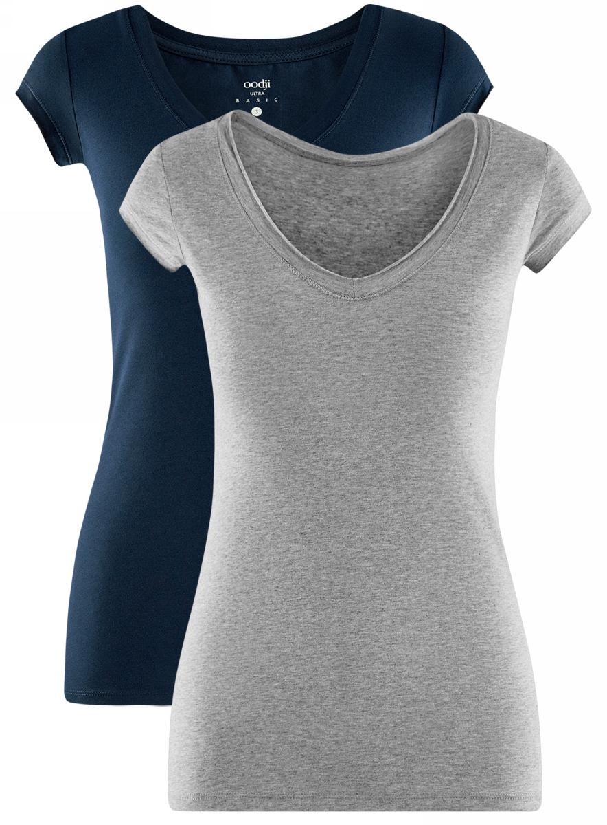 Футболка женская oodji Ultra, цвет: темно-синий, светло-серый, 2 шт. 14711002T2/46157/7920N. Размер XS (42)14711002T2/46157/7920NБазовая футболка от oodji выполнена из эластичного хлопкового трикотажа. Модель с короткими рукавами и глубоким декольте. В комплект входят две футболки.