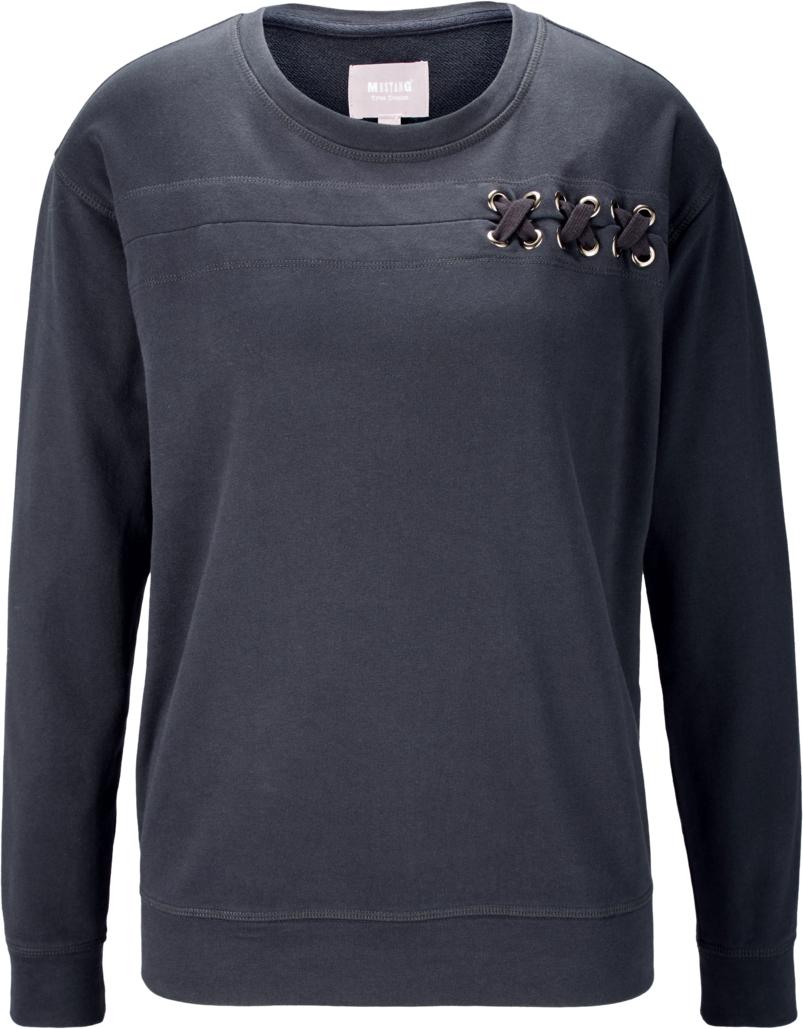 Свитшот женский Mustang Braided Sweatshirt, цвет: черный. 7571-1415-537_4084. Размер XL (50)7571-1415-537_4084Свитшот изготовлен из качественного смесового материала и декорирован оригинальной шнуровкой. Модель выполнена с длинными рукавами и круглым вырезом горловины. Свитшот дополнен широкими эластичными резинками по низу изделия и на манжетах рукавов.
