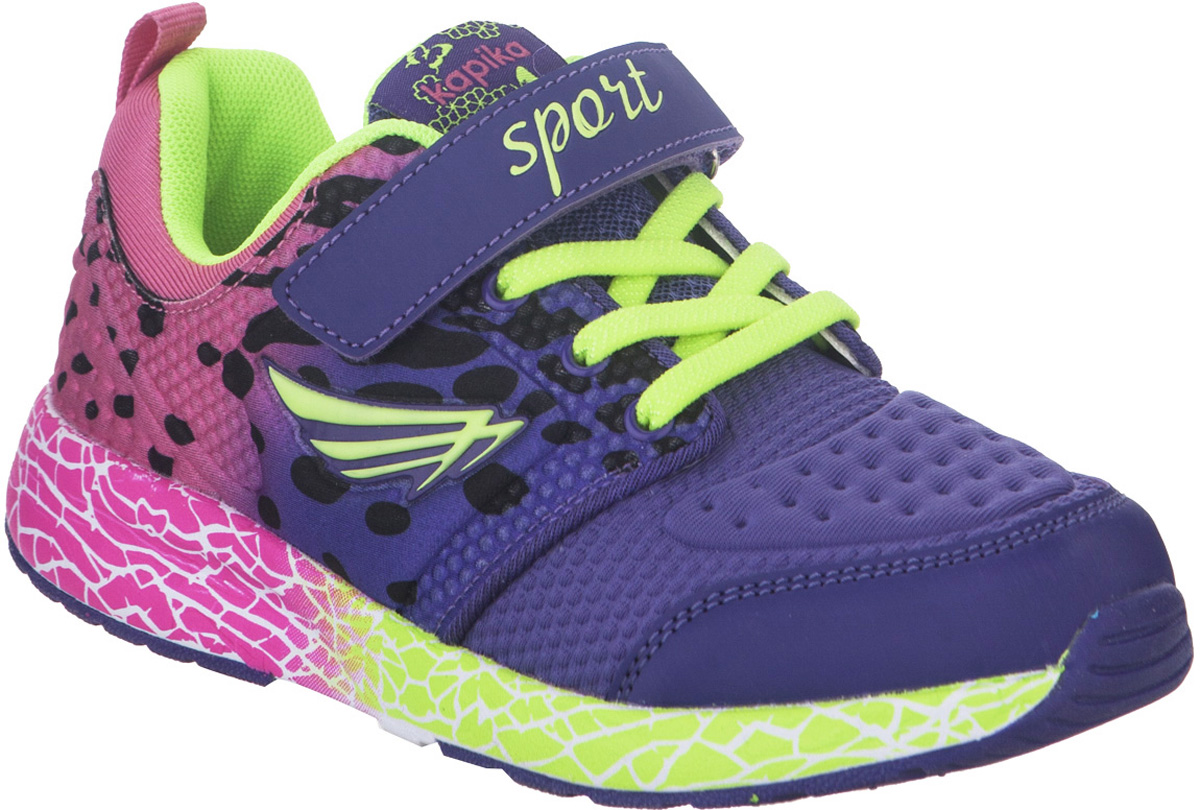 Кроссовки для девочки Kapika, цвет: фиолетовый. 73327-2. Размер 3773327-2Стильные кроссовки от Kapika не оставят равнодушным вашего ребенка. Модель изготовлена из искусственной кожи и текстиля. Уплотнение на мыске защищает детскую стопу от ударов при движении. Ремешок с застежкой-липучкой и шнурки прочно зафиксируют обувь на ножке. Подкладка и стелька из текстиля гарантируют комфорт при носке. Гибкая и легкая подошва, выполненная из ТЭП-материала, с промежуточной подошвой из ЭВА долговечна и обеспечивает высокую устойчивость к деформациям. В такой обуви ножкам вашего ребенка всегда будет комфортно и уютно.