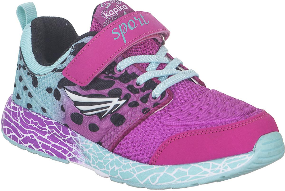 Кроссовки для девочки Kapika, цвет: фуксия. 73327-1. Размер 3673327-1Стильные кроссовки от Kapika не оставят равнодушным вашего ребенка. Модель изготовлена из искусственной кожи и текстиля. Уплотнение на мыске защищает детскую стопу от ударов при движении. Ремешок с застежкой-липучкой и шнурки прочно зафиксируют обувь на ножке. Подкладка и стелька из текстиля гарантируют комфорт при носке. Гибкая и легкая подошва, выполненная из ТЭП-материала, с промежуточной подошвой из ЭВА долговечна и обеспечивает высокую устойчивость к деформациям. В такой обуви ножкам вашего ребенка всегда будет комфортно и уютно.