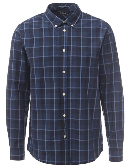 Рубашка мужская Baon, цвет: синий. B667532_Deep Navy Checked. Размер S (46)B667532_Deep Navy CheckedМужская рубашка Baon выполнена из 100% хлопка. Модель застегивается на пуговицы. Имеет длинные рукава, отложной воротник, манжеты на пуговицах. Модель дополнена принтом в полоску.