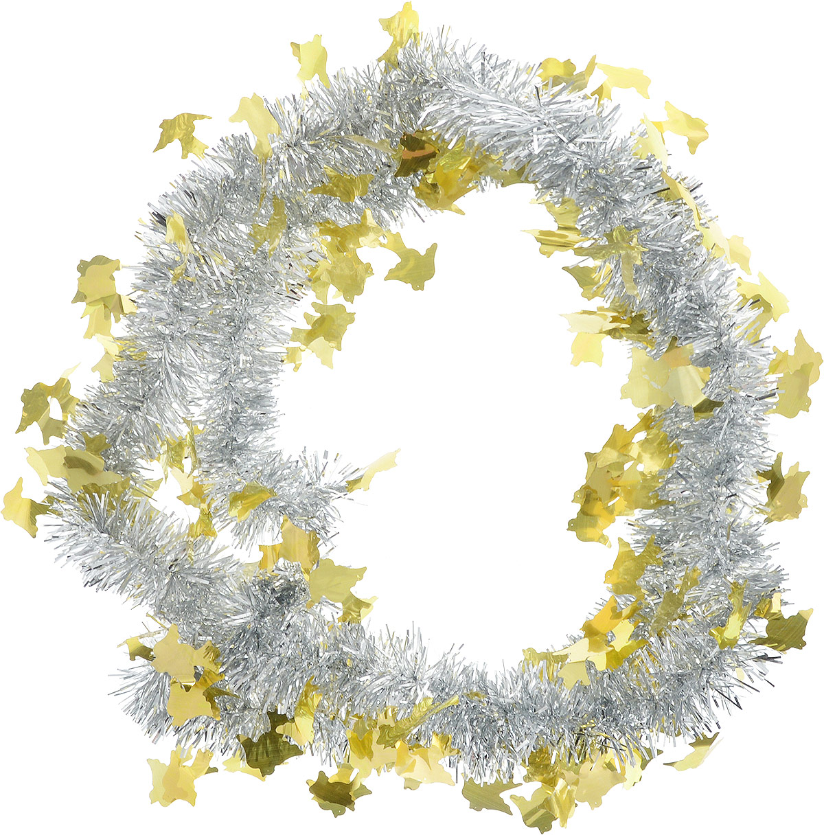 Мишура новогодняя Sima-land, цвет: серебристый, желтый, диаметр 5 см, длина 2 м. 702618702618Мишура новогодняя Sima-land, выполненная из фольги, поможет вам украсить свой дом к предстоящим праздникам. Мишура армирована, то есть имеет проволоку внутри и способна сохранять приданную ей форму. Новогодняя елка с таким украшением станет еще наряднее. Новогодней мишурой можно украсить все, что угодно - елку, квартиру, дачу, офис - как внутри, так и снаружи. Можно сложить новогодние поздравления, буквы и цифры, мишурой можно украсить и дополнить гирлянды, можно выделить дверные колонны, оплести дверные проемы.
