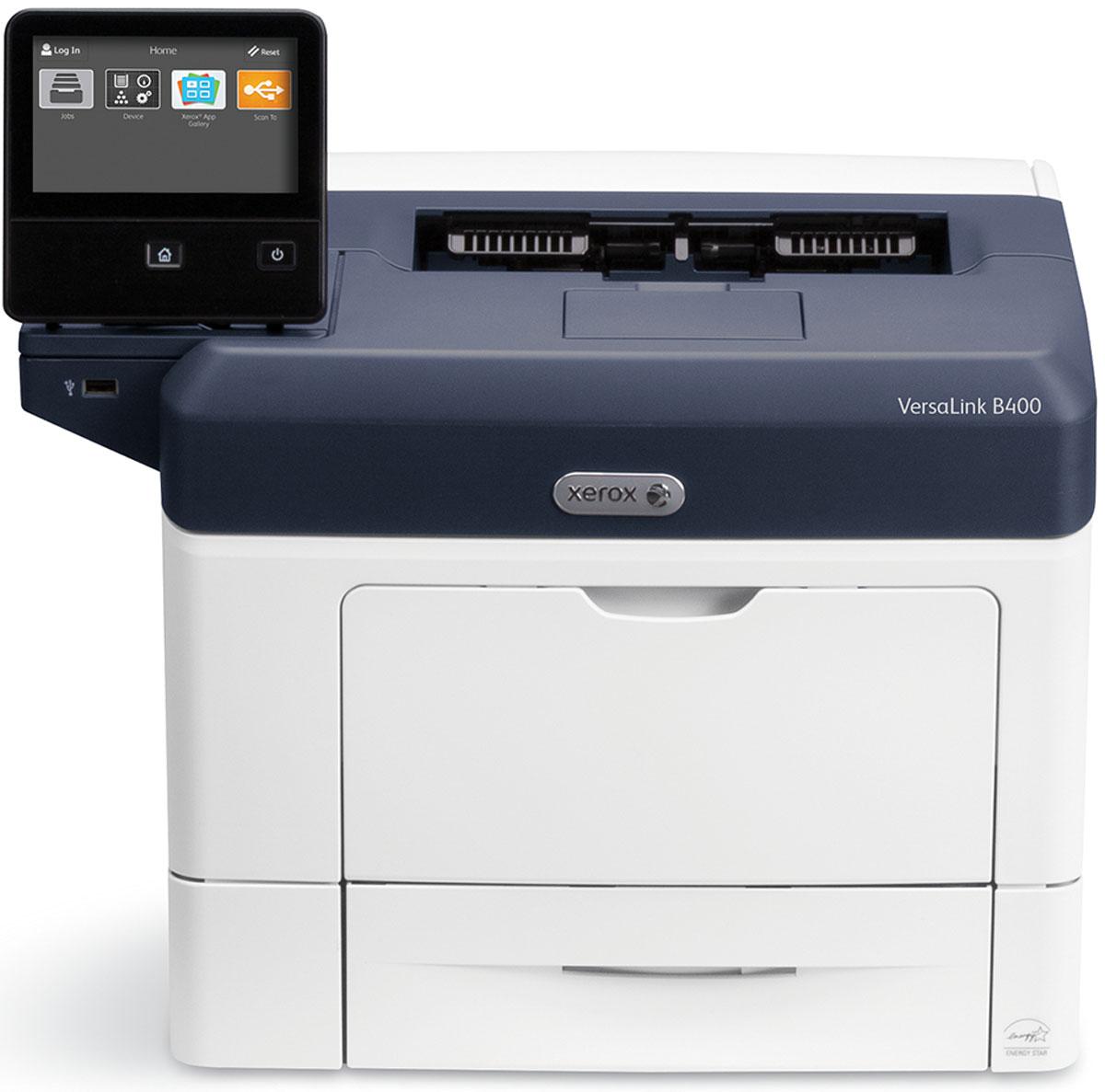 Xerox Versalink B400DN принтерVLB400V_DNМонохромный лазерный принтер Xerox Versalink B400DN создан на платформе Xerox ConnectKey - технологии, упрощающей выполнение стандартных задач и автоматизирующей процессы, способствуя повышению их эффективности. Принтер оборудован 5-дюймовым цветным сенсорным экраном, с которого осуществляется управление устройством. Единообразный пользовательский интерфейс интуитивно понятен для пользователя любого уровня, а также не требует дополнительных знаний при переходе от использования одного устройства к другому. Поворотный, емкостный экран можно индивидуально настроить для каждого пользователя устройства, с учетом его персональных предпочтений.Xerox VersaLink B400DN отличается неизменной надежностью, высоким качеством печати, производительностью и экономичностью. Печатает он со скоростью 45 страниц в минуту, обладает двухъядерным процессором с частотой 1,05 ГГц и встроенной памятью 2 Гб. Все функции, необходимые для современного офиса, доступны в базовой конфигурации устройства - двусторонняя печать, возможность подключения устройств к сети (Ethernet) и емкость устройств подачи бумаги на 700 листов. А наличие дополнительных опций и специальных возможностей позволяет вывести работу с документами на новый уровень и сократить неэффективные процессы.Простота в обращении и производительность-мастер установки для настройки аппарата пользователем-богатая базовая комплектация.Легкость подключения-прямой доступ к облачным сервисам Dropbox/Google Drive/OneDrive-работа с мобильными устройствами с использованием новейших технологий с поддержкой Apple AirPrint, Xerox PrintBack и Google Cloud Print-возможность одновременного проводного и беспроводного соединения.Удобный интерфейс-персонализированный инструментарий для каждого пользователя-доступ к библиотеке приложений Xerox App Gallery.Струйный или лазерный принтер: какой лучше? Статья OZON Гид