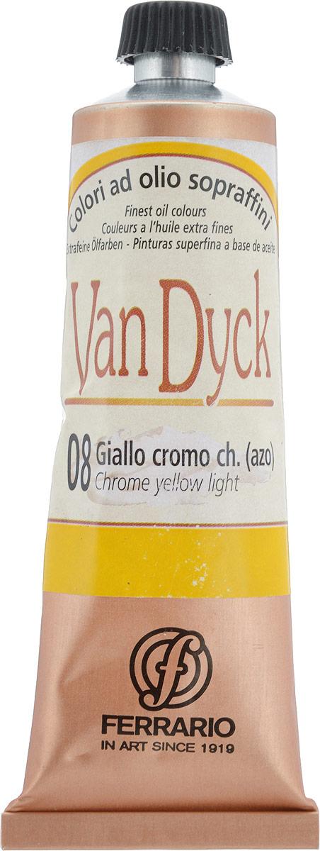 Ferrario Краска масляная Van Dyck цвет №08 хром желтый светлыйAV0017CO08Масляные краски серии VAN DYCK итальянской компании Ferrario изготавливаются из натуральных мелко тертых пигментов с добавлением качественного связующего материала. Благодаря этому масляные краски VAN DYCK обладают превосходной светостойкостью, чистотой цветов и оттенков. Краски можно разбавлять льняным маслом, терпентином или нефтяными разбавителями. Все цвета хорошо смешиваются между собой. В серии масляных красок VAN DYCK представлено 87 различных оттенков, а также 6 металлических оттенков.Дополнительные характеристики: – Изготавливаются из натуральных мелко тертых пигментов с добавлением качественного связующего материала; – Краски хорошо смешиваются между собой;