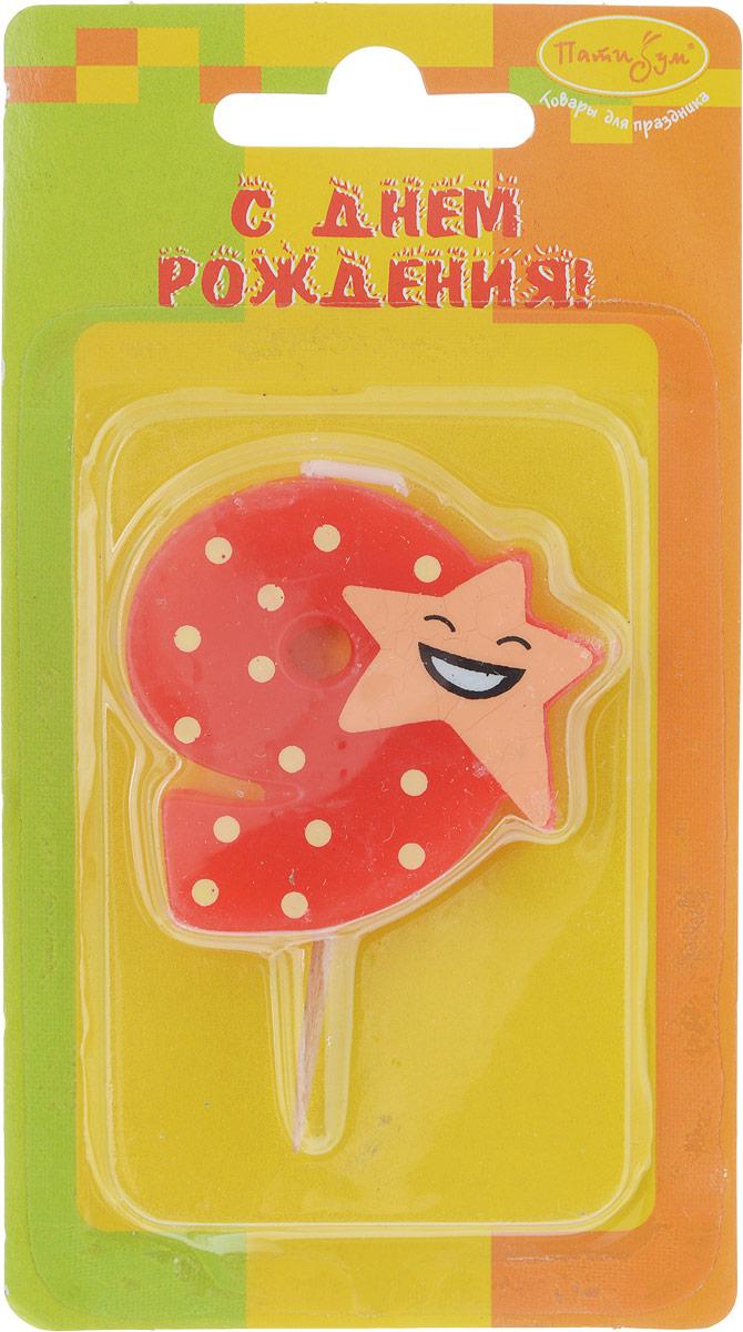 Пати Бум Свеча-цифра Мини 9 Звезда пати бум свеча для торта цифра 7 конфетти цвет красный