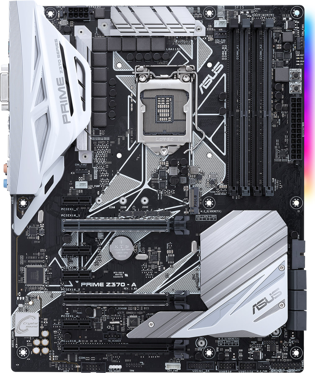 ASUS Prime Z370-A материнская плата90MB0V60-M0EAY0ASUS Prime Z370-A - материнская плата формата ATX с процессорным разъемом Intel LGA1151 и современными интерфейсами.Поддерживая всю функциональность новейших процессоров Intel Core восьмого поколения, она дополняет ее инновационными решениями от ASUS, такими как автоматическая настройка компьютера, гибкое управление системой охлаждения, высококачественный встроенный звук и совместимость с контроллером вентиляторов Fan Extension Card.Найти правильные настройки компьютера для конкретных сценариев работы стало предельно просто – достаточно воспользоваться функцией 5-сторонней оптимизации от ASUS. Вентиляторы работают на невысокой скорости при запуске обычных приложений, чтобы минимизировать шум, но ускоряются с ростом нагрузки на центральный или графический процессоры.Для слотов памяти используется оптимизированная разводка в определенном слое печатной платы (технология OptiMem), способствующая минимизации электромагнитных помех, и Т-образная топология подключения, улучшающая синхронизацию между сигналами, идущими в разные модули. Благодаря этому улучшается стабильность работы памяти, в том числе и на повышенных частотах, вплоть до DDR4-4000 - при заполнении всех слотов.ASUS Pro Clock – это специальный генератор тактовой частоты, позволяющий значительно повышать базовую частоту работы для процессоров Intel Core восьмого поколения. Дополняя уже знакомый пользователям TPU-чип, он позволяет добиться более высоких результатов при разгоне компьютера.Чтобы обеспечить дополнительное охлаждение элементов системы питания под высокой нагрузкой, например в режиме разгона, можно установить дополнительный вентилятор, для которого предусмотрено специальное крепление на радиаторе и соответствующий разъем. Такой вентилятор (поддерживаются модели диаметров 40 и 50 мм) поможет снизить температуру процессорного стабилизатора напряжения на величину до 25 градусов!Используя четыре линии PCI Express 3.0/2.0, интерфейс M.2 обеспечивает скорос