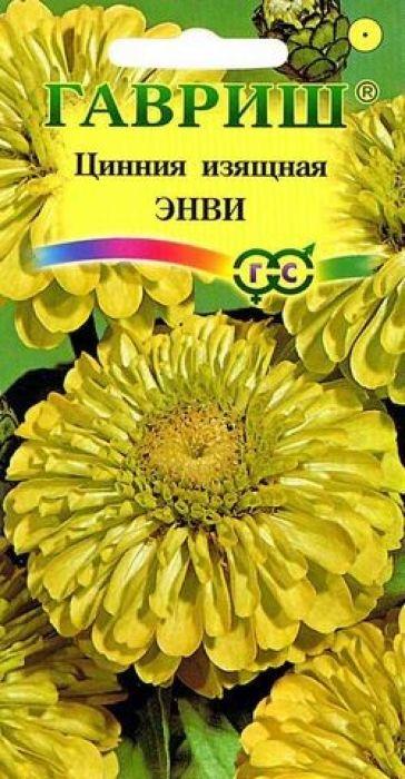 Семена Гавриш Цинния. Энви4601431007161Неприхотливое однолетнее растение из семейства Сложноцветные, высотой 70-90 см. Соцветия георгиновидные, нежного салатово-желтого оттенка, диаметром 10-12 см. Цветение обильное с июня до заморозков. Цинния светолюбива, засухоустойчива и теплолюбива. Выращивают рассадным способом и прямым посевом в открытый грунт в мае. На рассаду семена высевают в апреле. Всходы появляются через 4-6 дней. В начале июня растения высаживают на расстоянии 25-30 см. Используется для озеленения и получения срезки. Подвядшему букету цинний можно вернуть свежесть, поместив его в горячую воду предварительно обновив нижний косой срез.Уважаемые клиенты! Обращаем ваше внимание на то, что упаковка может иметь несколько видов дизайна. Поставка осуществляется в зависимости от наличия на складе.