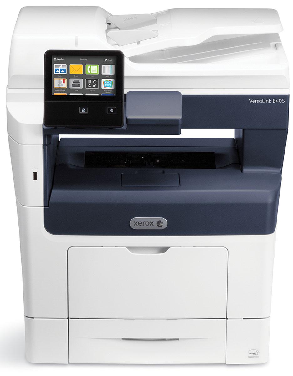 Xerox Versalink B405DN МФУVLB405V_DNМонохромное лазерное МФУ Xerox VersaLink B405DN отличается неизменной надежностью, высоким качеством печати, производительностью и экономичностью. Прибор печатает со скоростью 45 страниц в минуту, обладает двухъядерным процессором с частотой 1,05 ГГц и встроенной памятью 2 Гб. Все функции, необходимые для современного офиса, доступны в базовой конфигурации устройства - двусторонняя печать, возможность подключения устройств к сети (Ethernet) и емкость устройств подачи бумаги на 700 листов. А наличие дополнительных опций и специальных возможностей позволяет вывести работу с документами на новый уровень и сократить неэффективные процессы.Принтер оборудован 5-дюймовым цветным сенсорным экраном, с которого осуществляется управление устройством. Единообразный пользовательский интерфейс интуитивно понятен для пользователя любого уровня, а также не требует дополнительных знаний при переходе от использования одного устройства к другому. Поворотный, емкостный экран можно индивидуально настроить для каждого пользователя устройства, с учетом его персональных предпочтений. Xerox VersaLink B405DN создана на платформе Xerox ConnectKey - технологии, упрощающей выполнение стандартных задач и автоматизирующей процессы, способствуя повышению их эффективности.Простота в обращении и производительность-мастер установки для настройки аппарата пользователем-богатая базовая комплектация.Легкость подключения-прямой доступ к облачным сервисам Dropbox/Google Drive/OneDrive-работа с мобильными устройствами с использованием новейших технологий с поддержкой Apple AirPrint, Xerox PrintBack и Google Cloud Print-возможность одновременного проводного и беспроводного соединения.Удобный интерфейс-персонализированный инструментарий для каждого пользователя-доступ к библиотеке приложений Xerox App Gallery.