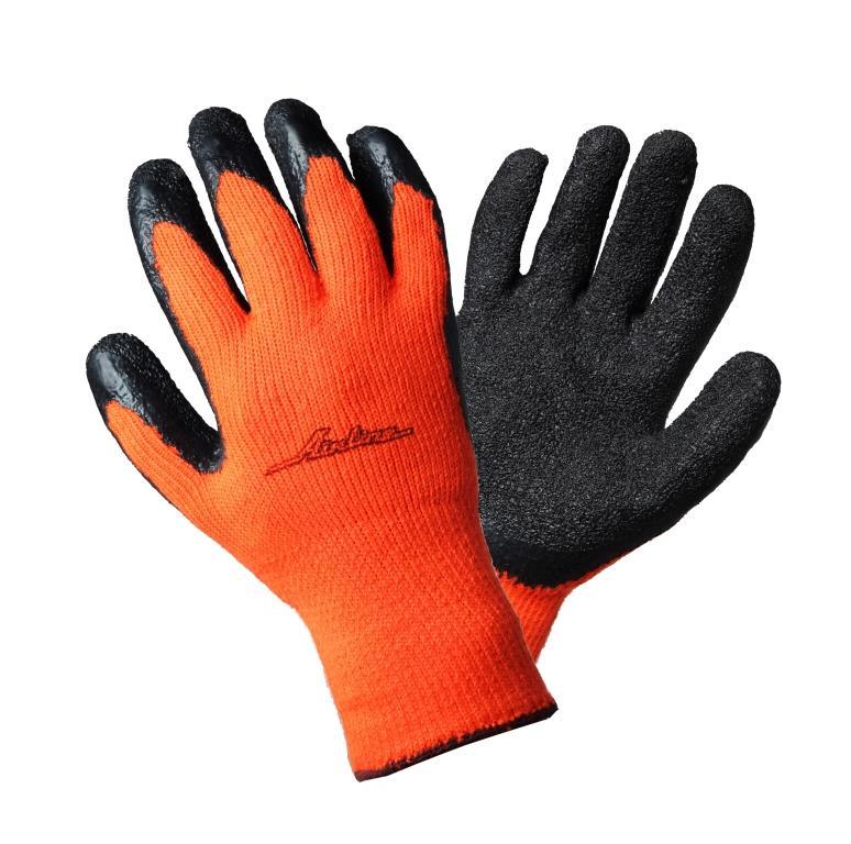 Перчатки утепленные Airline, с двухслойным латексным покрытием ладони, цвет: черный, оранжевый. AWG-W-05. размер универсальныйAWG-W-05Данная модель перчаток была разработана специально для работы при низких температурныхусловиях. Изделие имеет утепленную основу из трикотажа, а также покрытие из прочного латекса.Дополнительным элементом сохранения комфортной для работы температуры является наличиевнутренней отделки из махрового материала. Кроме тепловых свойств, перчатки также помогаютзащитить кожу рук от повреждений при проведении ремонтных и строительных работ.Длина ладони над большим пальцем: 12 см.Длина перчатки от основания манжета до кончика среднего пальца: 19,5 см.