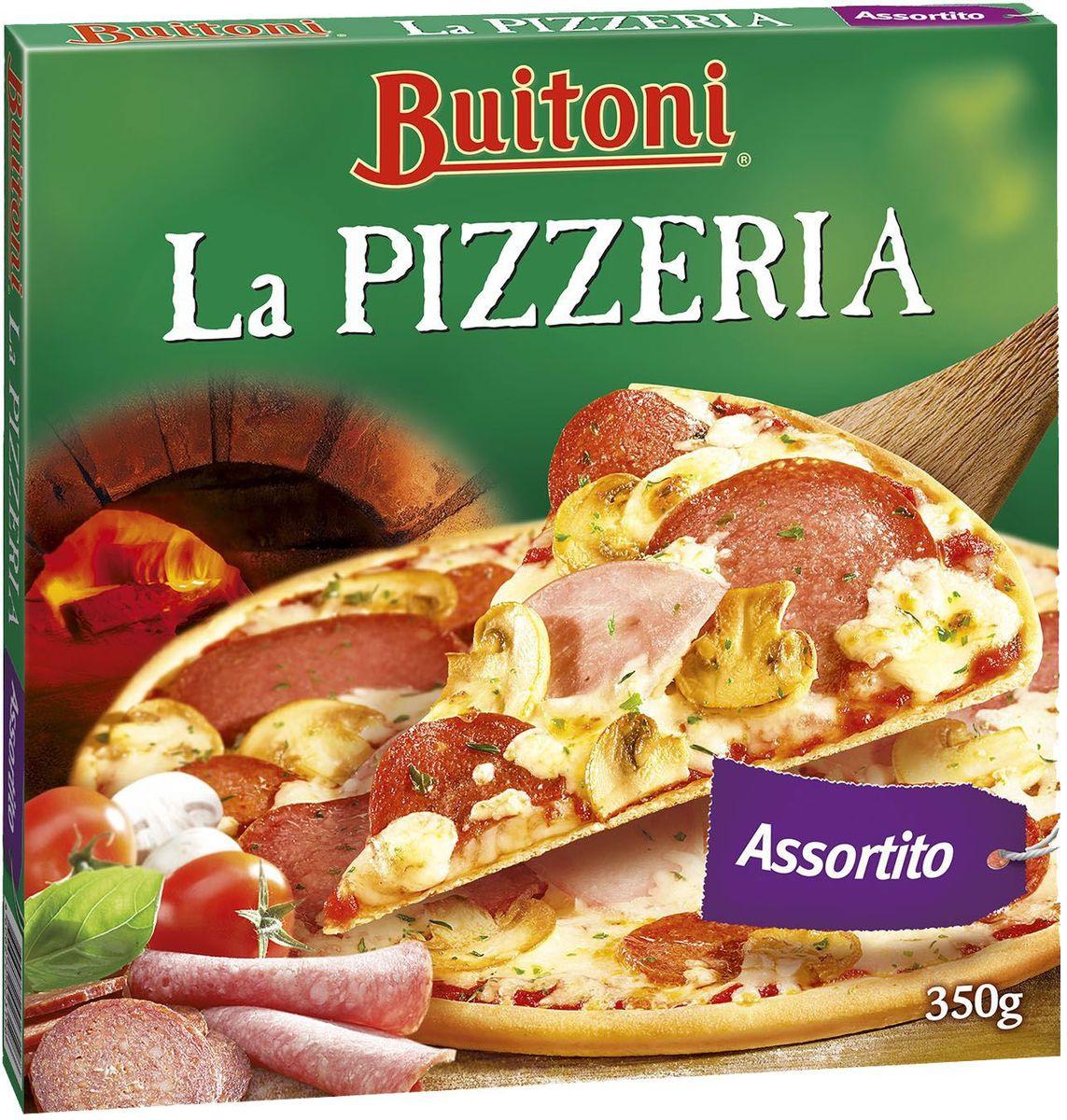 Buitoni La Pizzeria Ассорти, 350 г4606272023196Пицца Buitoni выпекается в настоящей каменной печи. Благодаря равномерному жару, исходящему от природного камня, пицца становится более тонкой, хрустящей и вкусной. Секрет пиццы Buitoni заключается в комбинации свежих натуральных ингредиентов - томатов, созревающих на жарком солнце, лучших сортов сыра и ароматных специй.Пищевая ценность в 100 г: белки 10,2 г, углеводы 24,2 г, жиры 10,7 г.Энергетическая ценность (на 100 г): 238 ккал.