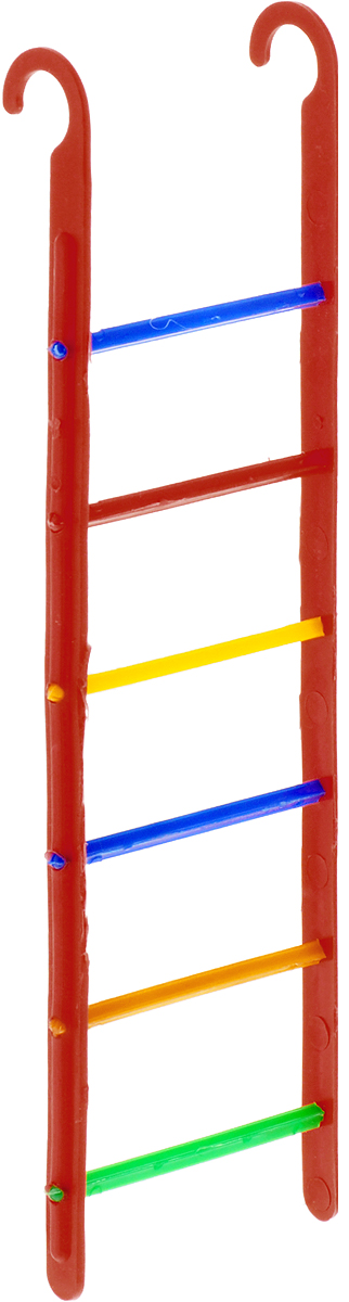 Лестница для птиц Каскад, цвет: красный, 6 х 21 х 0,5 см полка для инструмента blocker reef цвет красный 475 х 158 х 56 мм