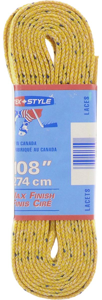 Шнурки для коньков Tex Style, с пропиткой, цвет: желтый, 2,74 м, 2 штУТ-00007778Шнурки для коньков Tex Style с пропиткой - это шнурки уникальной разработки, они гарантируют правильное количество воска в структуре шнурка, которое предотвращает их шелушение и развязывание.Такие шнурки идеально подойдут для фигурных и хоккейных коньков.Длина шнурков: 2,74 м.Ширина шнурков: 8 мм.