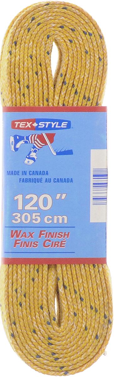 Шнурки для коньков Tex Style, с пропиткой, цвет: желтый, 3,05 м, 2 штУТ-00007779Шнурки для коньков Tex Style с пропиткой - это шнурки уникальной разработки, они гарантируют правильное количество воска в структуре шнурка, которое предотвращает их шелушение и развязывание.Такие шнурки идеально подойдут для фигурных и хоккейных коньков.Длина шнурков: 3,05 м.Ширина шнурков: 8 мм.