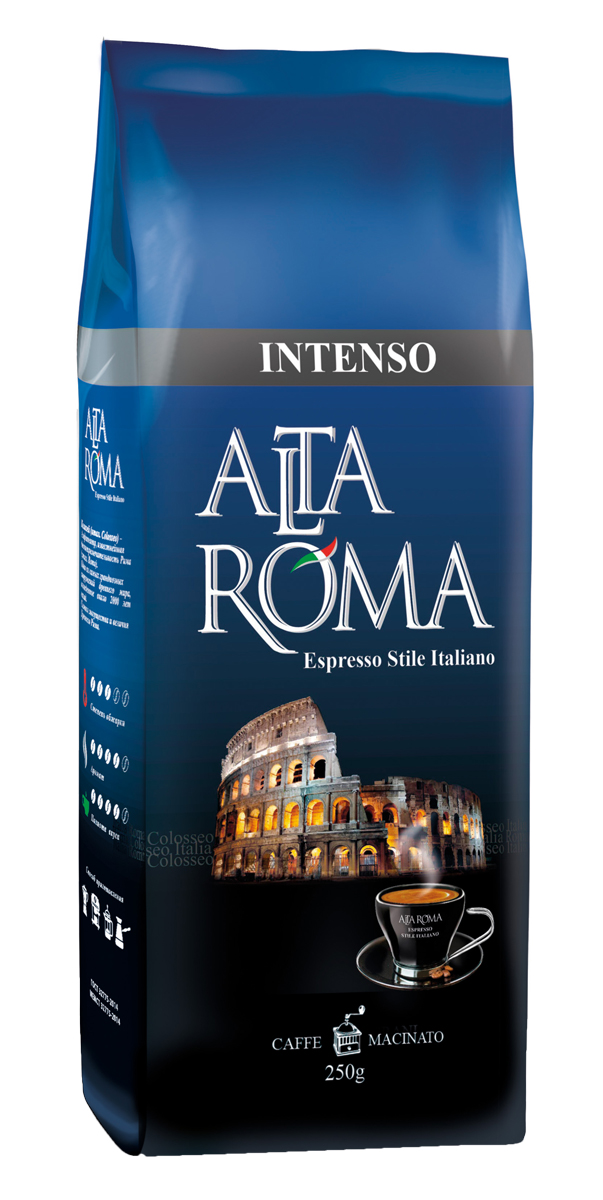 Altaroma Intenso кофе молотый, 250 г00000008457Свежеобжареный кофе молотый расфасованный в многослойную комбинированную пленку. Срок годности 12 месКофе: мифы и факты. Статья OZON Гид