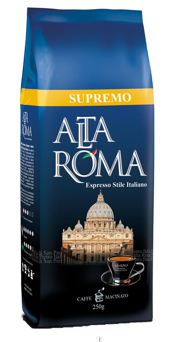 Altaroma Supremo кофе молотый, 250 г00000008246Свежеобжареный кофе расфасованный в многослойную комбинированную пленку. Срок годности 12 мес