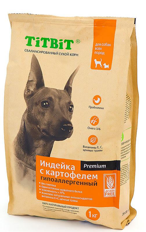 Корм сухой Titbit, для собак, гипоаллергенный, индейка с картофелем, 1 кг9109Сбалансированный сухой корм Titbit премиум класса Индейка с картофелем разработан специально для удовлетворения потребностей собак, склонных к аллергии. Из формулы корма исключены злаки и глютен. В качестве источника белка животного происхождения используется один вид мяса. Содержит все необходимые для здорового развития витамины, минералы и микроэлементы, обладает великолепными вкусовыми качествами. Состав: мясо индейки (26%), картофель, мука зеленого горошка, куриный жир, рыбий жир, пивные дрожжи.